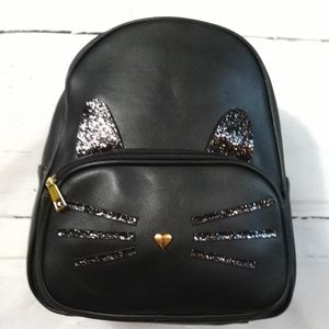Black cat kitten glitter backpack NWT